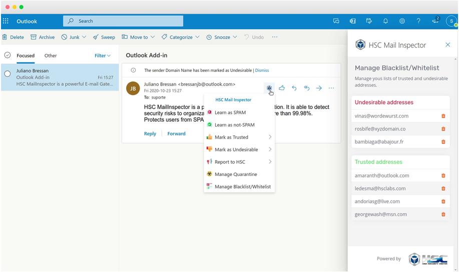 Integração Microsoft 365 com Mailinspector